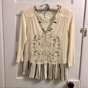 Anthropologie beaded embroidered peplum blouse